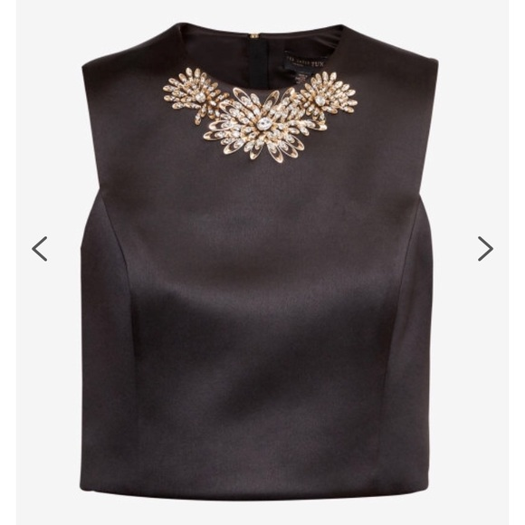 5df0474fec589 New Ted Baker Jaby Embellished Satin Cropped Top. NWT. Ted Baker London.   85  295. Size. 0